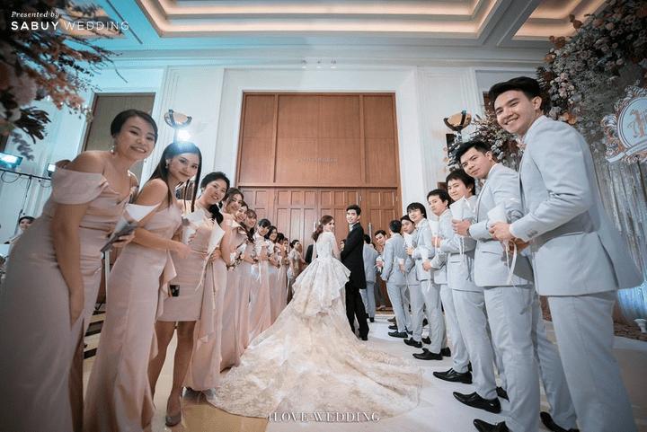 เจ้าสาว,เจ้าบ่าว,ชุดแต่งงาน,เพื่อนเจ้าสาว,สถานที่แต่งงาน,โรงแรม,The Peninsula Bangkok รีวิวงานแต่งโทนหวาน จัดงานสวยฟุ้งเหมือนโลกแห่งความฝัน @ The Peninsula Bangkok
