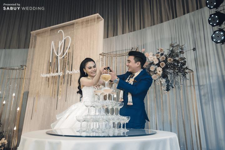 backdrop, ชุดบ่าวสาว, สถานที่จัดงานแต่งงาน, แชมเปญ รีวิวงานแต่งสุดประทับใจ เซอร์ไพรส์ After Party ด้วยเพลงยอดฮิต @ Bangkok Marriott Hotel Sukhumvit