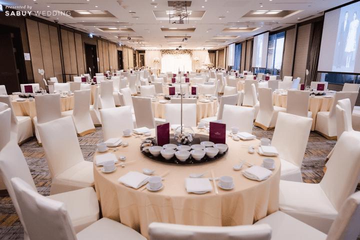 โต๊ะจีน,งานแต่งงาน รีวิวงานแต่งสวยหวานกับโทนสีครีม ทอง น้ำตาล สุดอบอุ่น @ Crowne Plaza Bangkok Lumpini Park