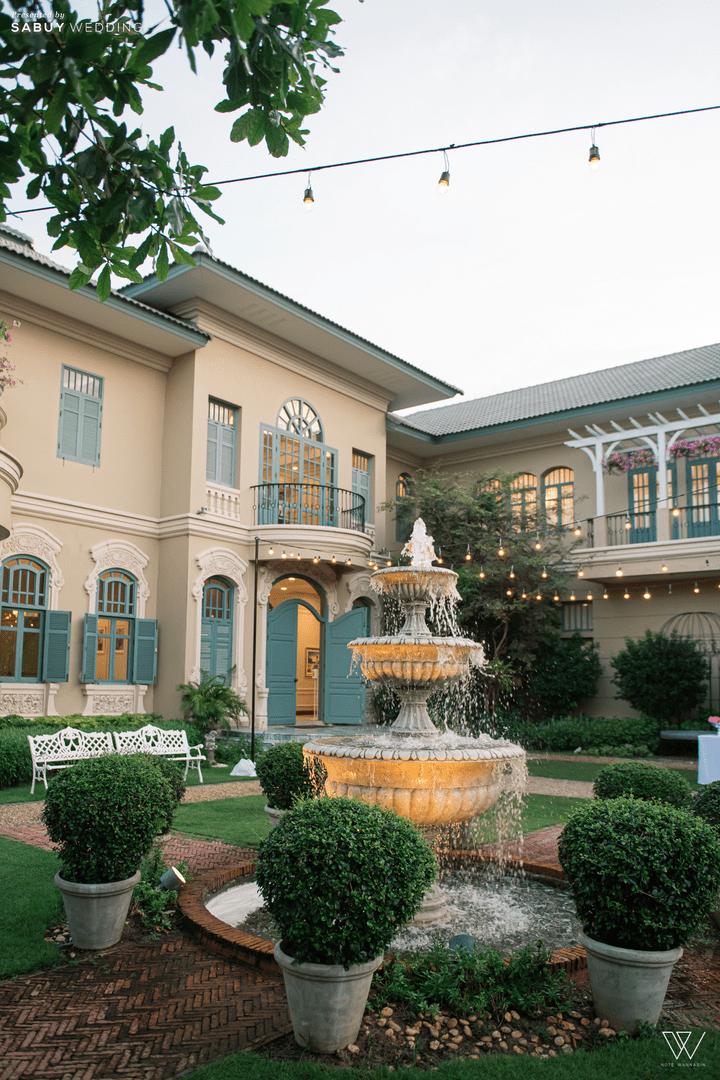 สถานที่จัดงานแต่งงาน รีวิวงานแต่งธีมโคโลเนียล ตกแต่ง Unique สวยพีคได้ใจแขก @ Villa De Bua