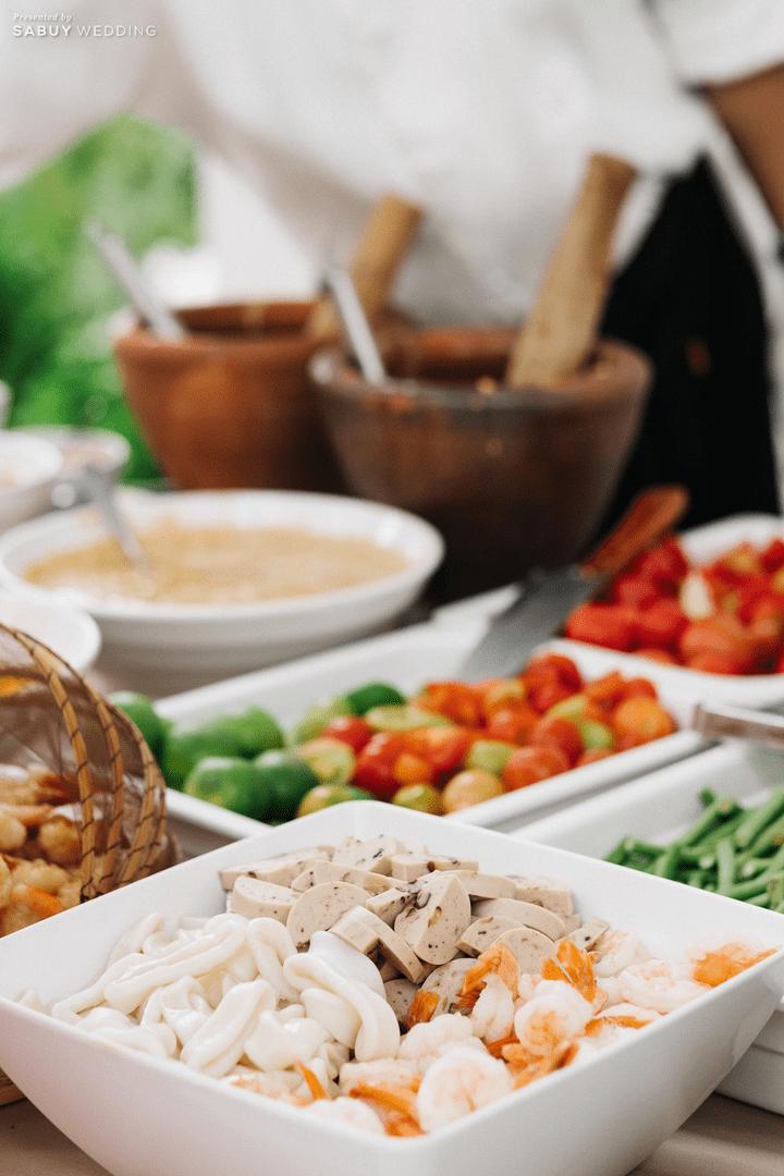 อาหารงานแต่ง รีวิวงานแต่งชมพูเทาสวยดูดี พร้อมวิธีเอนเตอร์เทนแขก @ AUBE